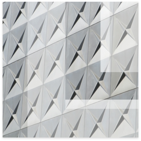 Leon logo overlay on modern building with geometric tiled pattern.
