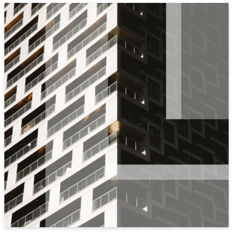 Leon logo overlay on modern apartment building with balconies.