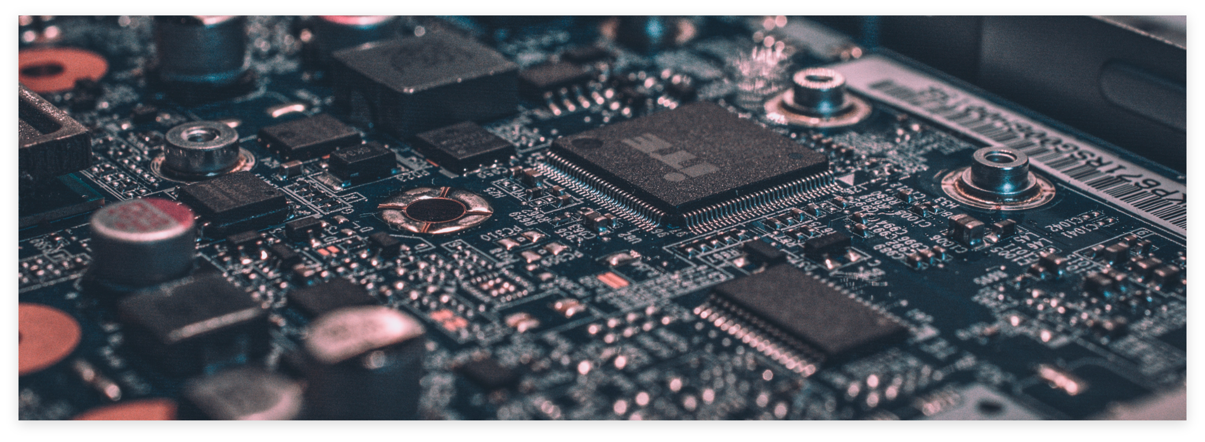 Close up of circuit board.