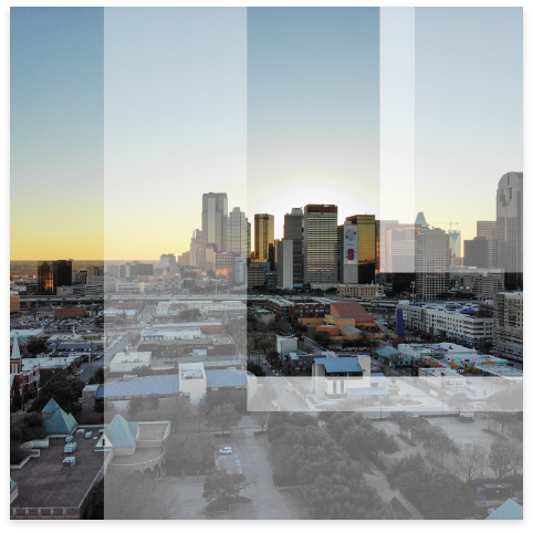 Leon logo overlay on city skyline at dusk.
