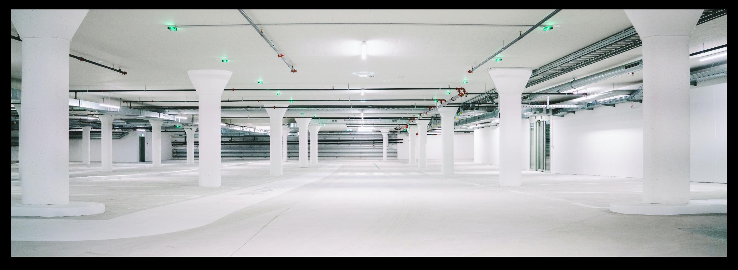 Clean parking garage.